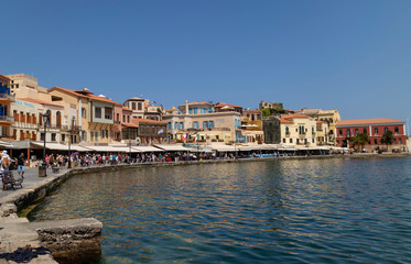 Chania, Crete, Greece. June 2019. The busy eating and shopping area around the Old Venetian Harbour of Chania, Crete
