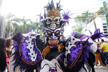 2018.02.17 the carnival in the Dominican Republic, La vega city, Man in the suit of the monster of the dark forces is walking on the parade and carnival