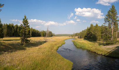 overview prairie and rivers in Yellowstone National Park in Wyoming