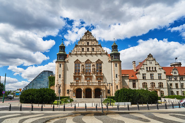 Urban landscape with historic, neo-Romanesque buildings of the University of Poznan.