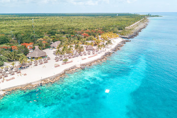 Beautiful aerial view of Cozumel Island in the Mexican Caribbean