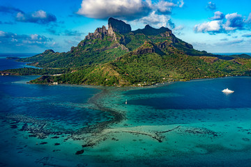 Bora Bora Polinezja Francuska Paradise Island panorama ptaka