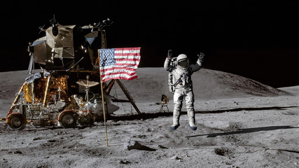 3D rendering. Astronaut jumping on the moon and saluting the American flag. CG Animation. Elements of this image furnished by NASA.