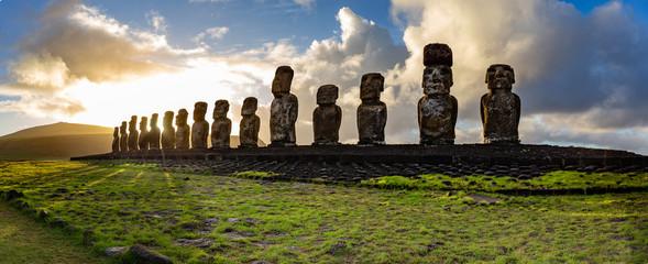 EASTER ISLAND Moais - Ahu Tongariki on rise of sun. Chile