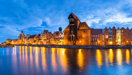 Panorama of Gdansk over Motlawa river at dusk, Poland
