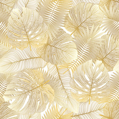 Seamless pattern with tropical leaf palm . Vector illustration.