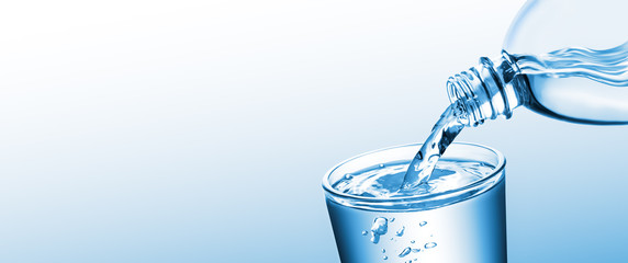 Banner Of Purified Water Pouring From Bottle Into Glass Cup On Clean Gradient Background - Healthy Lifestyle Concept