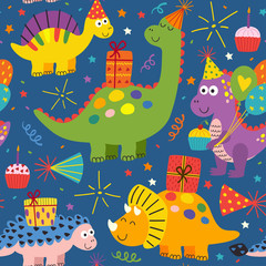 colorful seamless pattern with cute dinosaurs Happy Birthday - vector illustration, eps