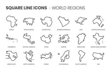 Związane z regionami świata, zestaw ikon wektorowych linii kwadratowej dla aplikacji i tworzenia stron internetowych. Zestaw ikon to pixelperfect z siatką 64x64. Wykonany z precyzją i dbałością o jakość.