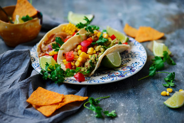 Vegan Tacos with Guacamole and Beans. Tex-Mex