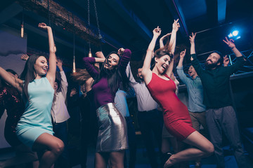 Nice gorgeous attractive glamorous slim fit cheerful positive stylish girls and guys having fun event life lifestyle occasion festal celebratory feast in fashionable luxury place nightclub indoors
