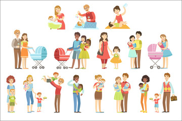 Happy Families With Small Children Flat Childish Cartoon Style Bright Color Vector Illustration On White Background.
