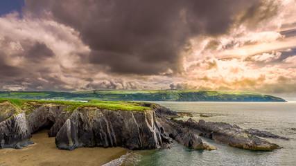 Coastal path Cardigan, Wales dramatic sky