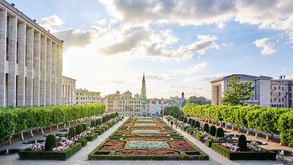 The Mont des Arts at sunset with people walking and exploring