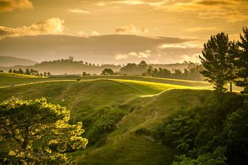 zachód słońca krajobraz Nowa Zelandia wyspa północna