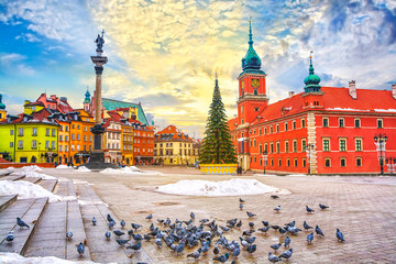 Royal Castle, ancient townhouses and Sigismund's Column in Old town in Warsaw on a Christmas day, Poland, is UNESCO World Heritage Site