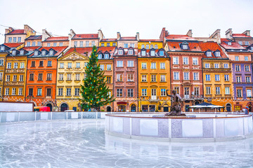 Skating rink in the Old town square in Warsaw on the eve of Christmas, Poland