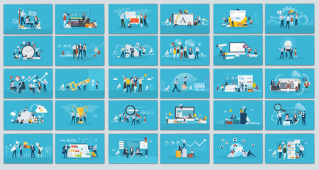 Collection of flat design illustration- Business concept, Set of web page design templates for business, finance and marketing. Modern vector illustration concepts for website.