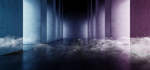 Smoke Modern Elegant Blue Glow Architecture Grunge Concrete Columns Cement Reflective Underground Hallway Room Garage Gallery Tunnel Corridor Dark Empty Background 3D Rendering