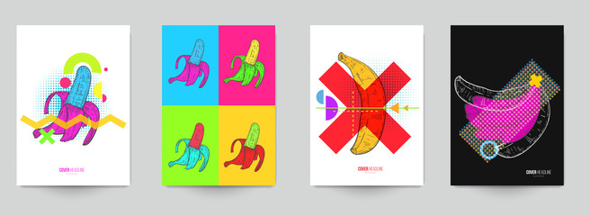 Set background for covers, invitations, posters, banners, flyers, placards. Minimal template design for branding, advertising with hand drawn sketch banana in fashion pop art style.