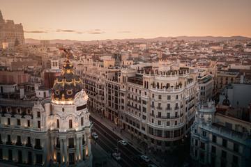 Aerial view of Gran Via Street - Madrid, Spain