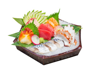 sashimi mix set include salmon, tuna, saba, tai, tako and hokkigai isolated on white background