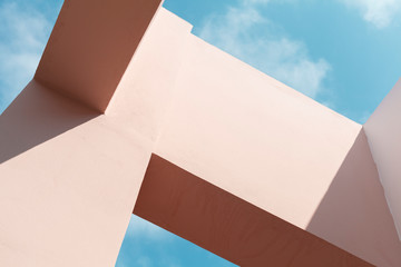 Pink facade structures under blue sky