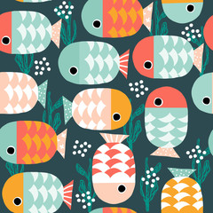 Seamless pattern with cute fishes underwater. Kids cute print. Vector hand drawn illustration.