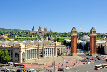 Barcelona, Spain, Picturesque view on the tourist city - Square of Spain, iconic landmark by Montjuic, popular travel destination. Postcard from Barcelona, Europe.