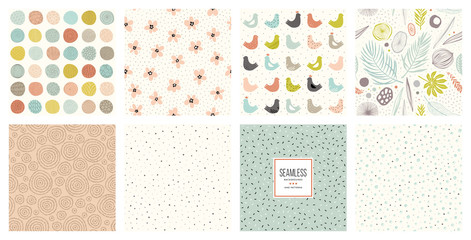 Cute seamless patterns and prints set.