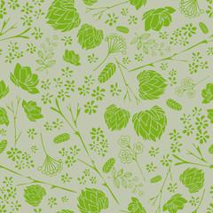 Green wallpaper seamless vintage flower pattern on silver gray background.
