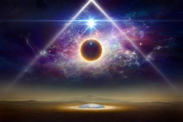 Kolaż science-fiction - statek kosmiczny kosmitów nad kolonią kosmitów na planecie Ziemia
