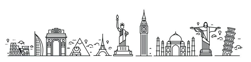 Travel the world monument concept - Vector Flat Line Art Design.