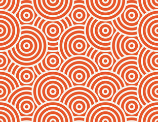 Abstract circle, line seamless pattern. Bright colorful business background, orange white color. Linear round shapes, creative geometric ornament