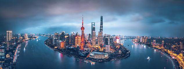 Panoramę Szanghaju w nocy