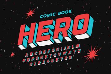 Projekt czcionki w stylu komiksu, liter i cyfr alfabetu