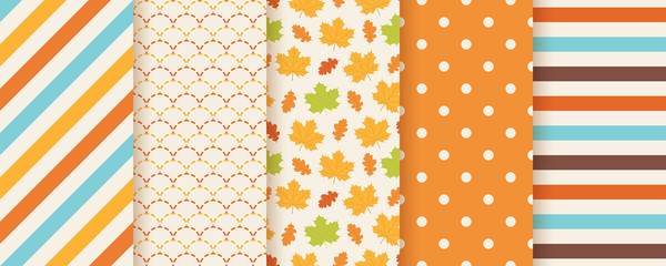Autumn pattern. Vector. Seamless print with fall leaves, polka dot, stripes and fish scale. Seasonal geometric textures. Colorful cartoon illustration. Cute abstract backgrounds. Orange wallpaper.