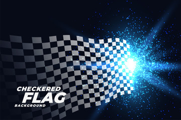 checkered racing flag with blue lights particles background
