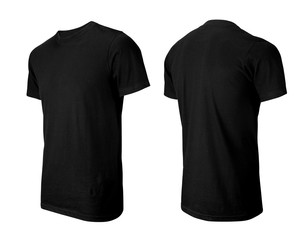 Black T-shirts front and perspective view isolated on white