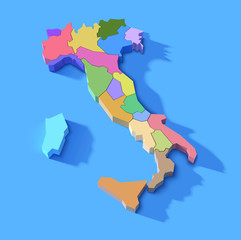 simplified three dimensional Italy map with regions, vector illustration
