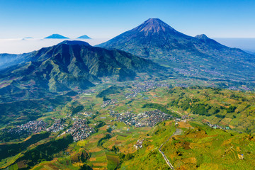 Dieng plateau with Sindoro mountain and Sikunir hill