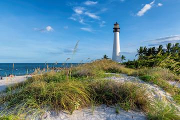 Florida beach with lighthouse. Cape Florida Lighthouse, Key Biscayne, Miami, Florida, USA