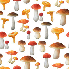 Seamless floral pattern on white background. Autumn collection. Watercolor hand drawn mushrooms.