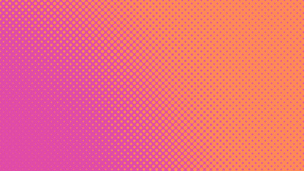 Magenta and orange retro pop art background with halftone dots design