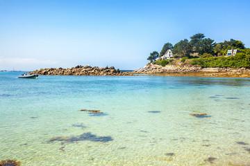 Ile de Batz Island with a beach in the summer, Bretagne, France, French Atlantic