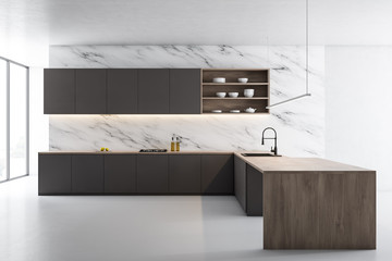 White marble kitchen, gray counters and island