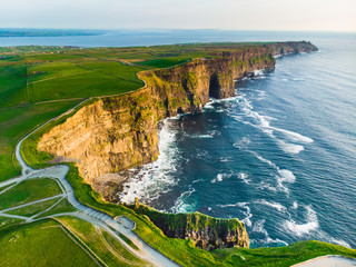 World famous Cliffs of Moher, one of the most popular tourist destinations in Ireland. Aerial view of known tourist attraction on Wild Atlantic Way in County Clare.