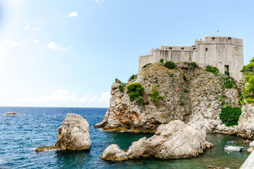 View of Fort Lovrijenac on a high hill in Dubrovnik, Croatia