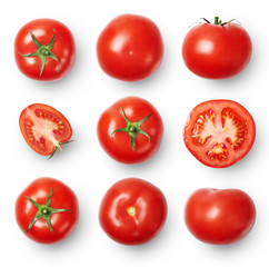 A set of ripe tomatoes whole and sliced isolated on white background. Top view.