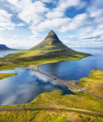 Iceland. Aerial view on the mountain and ocean. Landscape in the Iceland at the day time. Famous place in Iceland. Landscape from drone. Travel - image